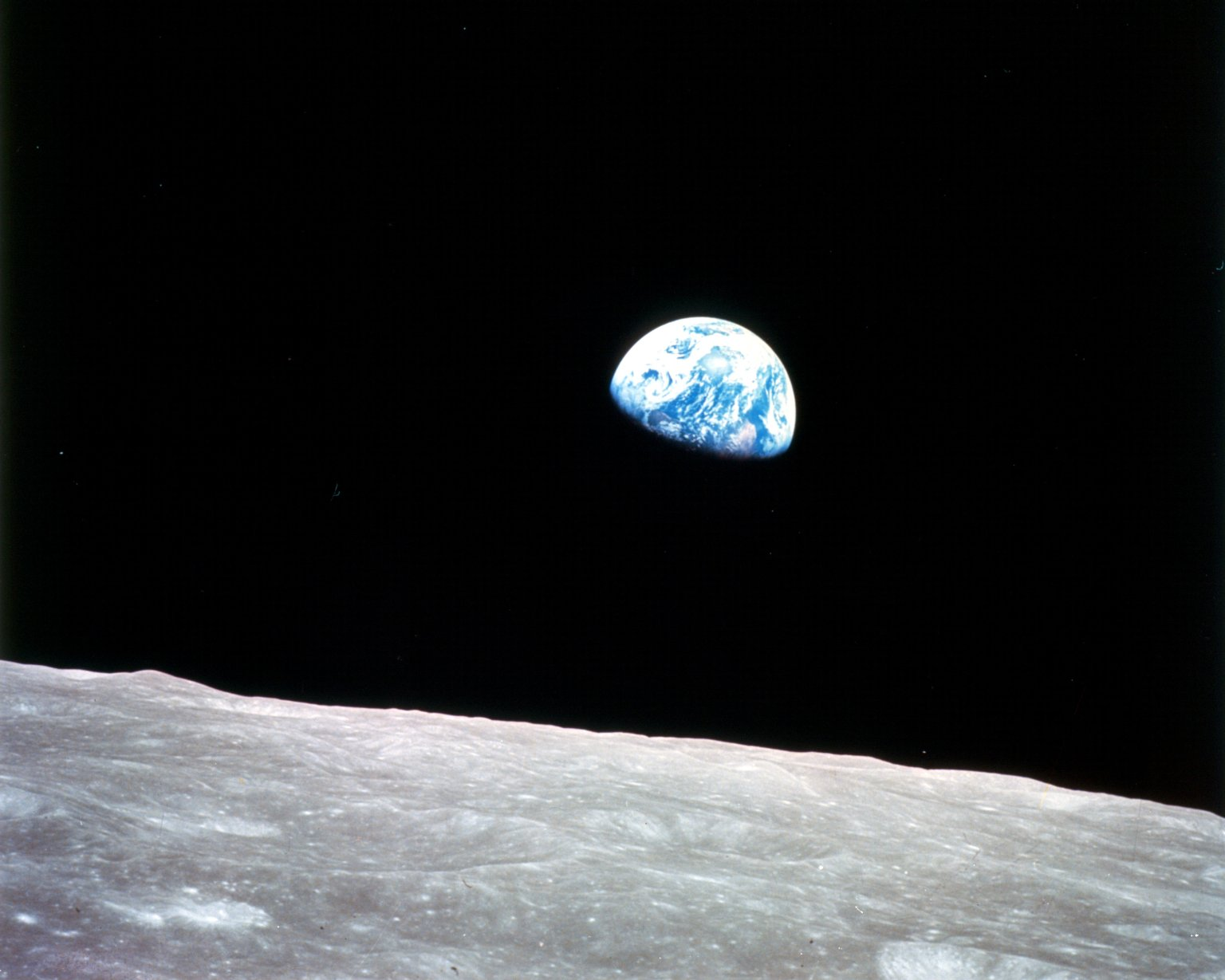 NASA Earthrise Apollo 8, taken December 29, 1968 from lunar orbit.