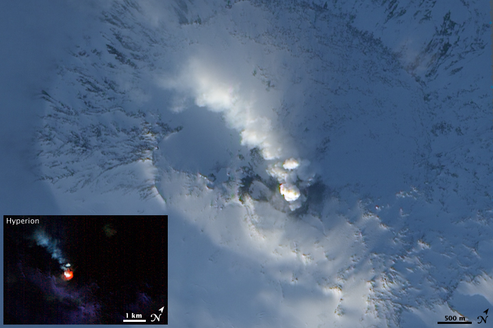Mt. Erebus in Antarctica. NASA photos.