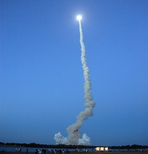 Image: Space shuttle Discovery hurtles into the evening sky on the STS-119 mission. Photo credit: NASA/Fletch Hildreth