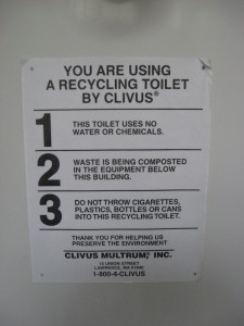 Helpful information for the composting toilet.
