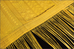 Part of the 11-foot-long cloth woven from spider silk