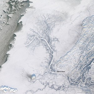 This NASA image shows the frozen Yukon River in Alaska.